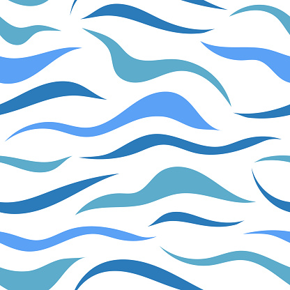 Seamless pattern with flowing blue lines, spots. Abstract texture with chaotic blue waves, water lines.