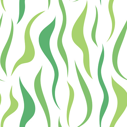 Seamless pattern with flowing green lines, spots. Abstract texture with chaotic green waves, leaf lines.
