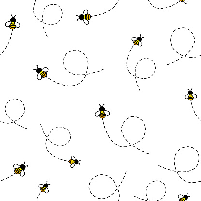 Seamless Pattern with flying bees.