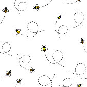 Seamless Pattern with flying bees. Vector Cartoon black and yellow bees isolated on white background. Cartoon doodle cute bees seamless with dotted lines pattern