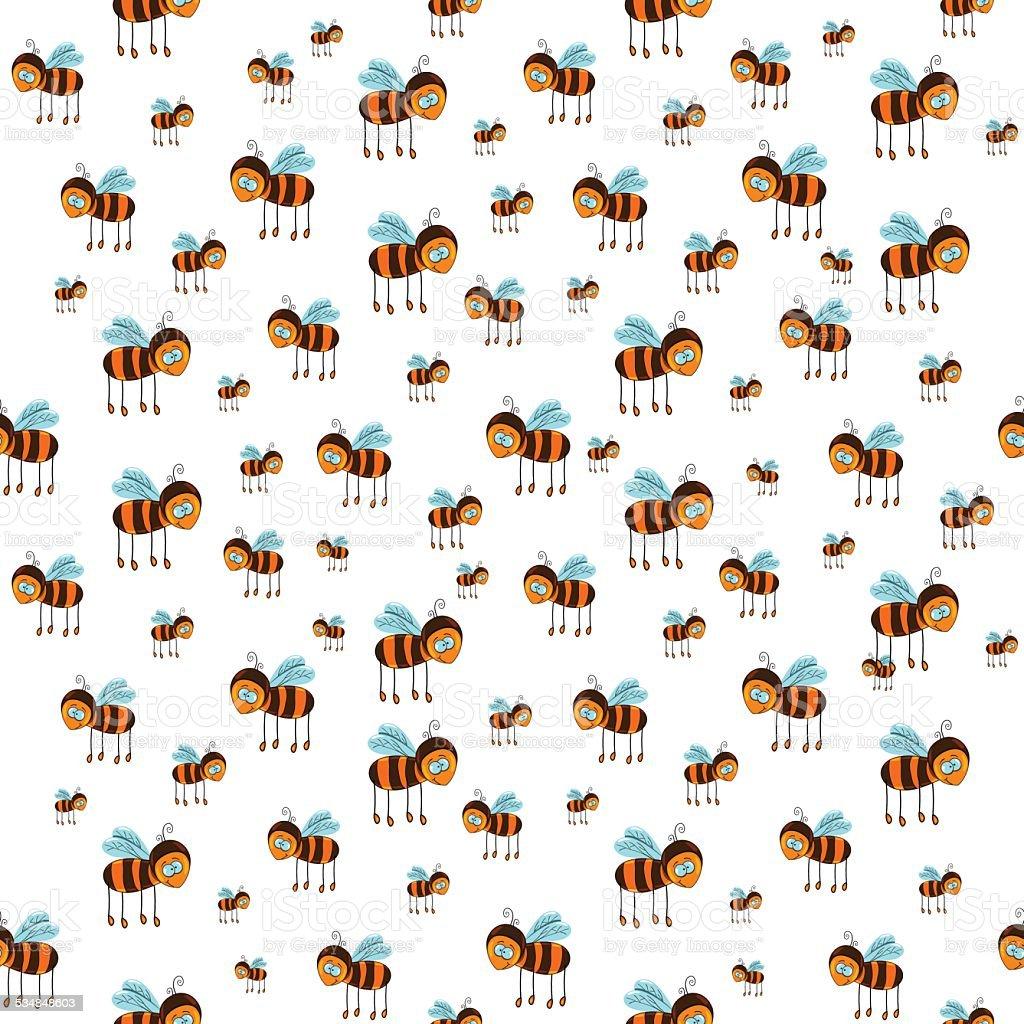 Nahtlose Muster fliegende Bienen mit – Vektorgrafik
