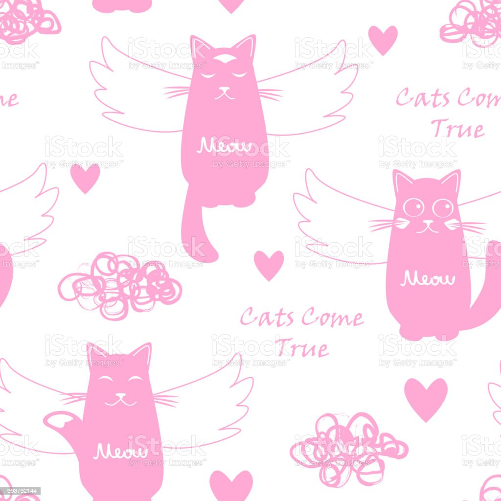 Ilustración de Patrones Sin Fisuras Con Los Gatos Aéreo y más banco ...