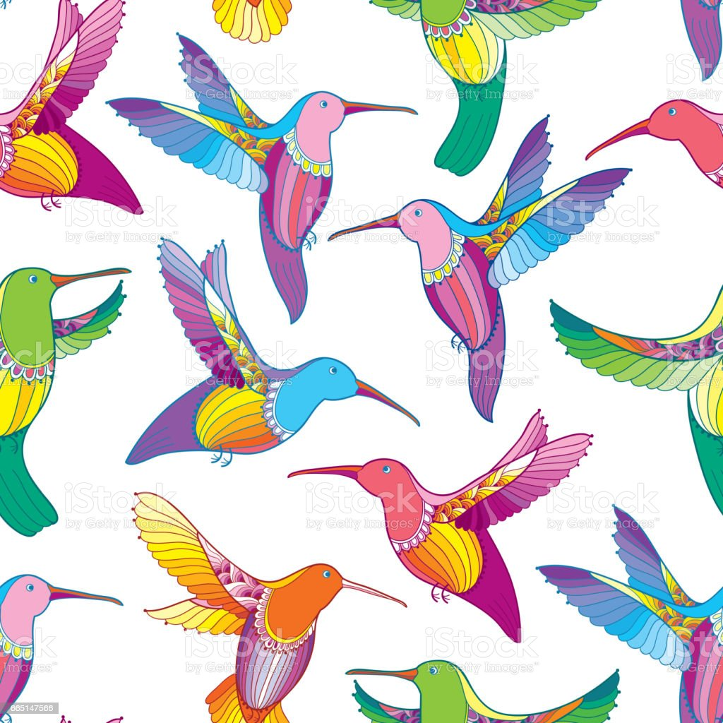 Seamless Pattern With Flying Hummingbird In Contour Style On The White Background Royalty Free