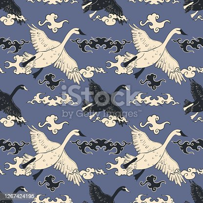 istock Seamless pattern with flying swan and clouds in asian style. 1267424195