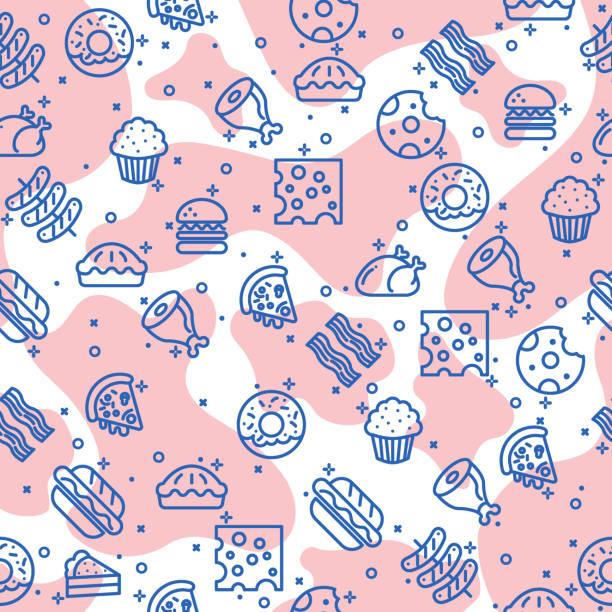 ilustrações de stock, clip art, desenhos animados e ícones de seamless pattern with food. vector illustration. - meat texture