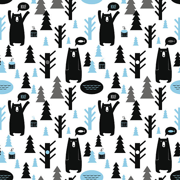 Seamless pattern with forest and bears. Vector background with b vector art illustration