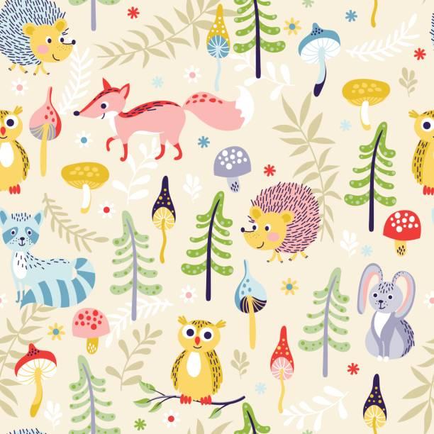 ilustrações, clipart, desenhos animados e ícones de floresta sem costura padrão com animais - fofo descrição geral