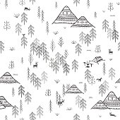 Vector seamless pattern with wild forest life, mountains, camping, deers, bird and wolf. Can be printed and used as wrapping paper, wallpaper, textile, fabric, etc.