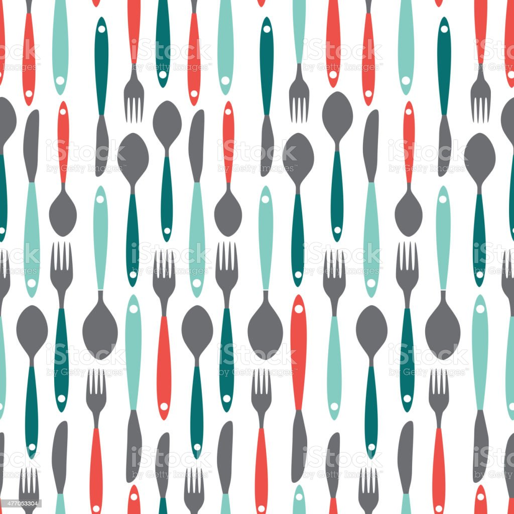 Seamless Pattern with Forks, Spoons end Knifes. Vector Illustrat vector art illustration