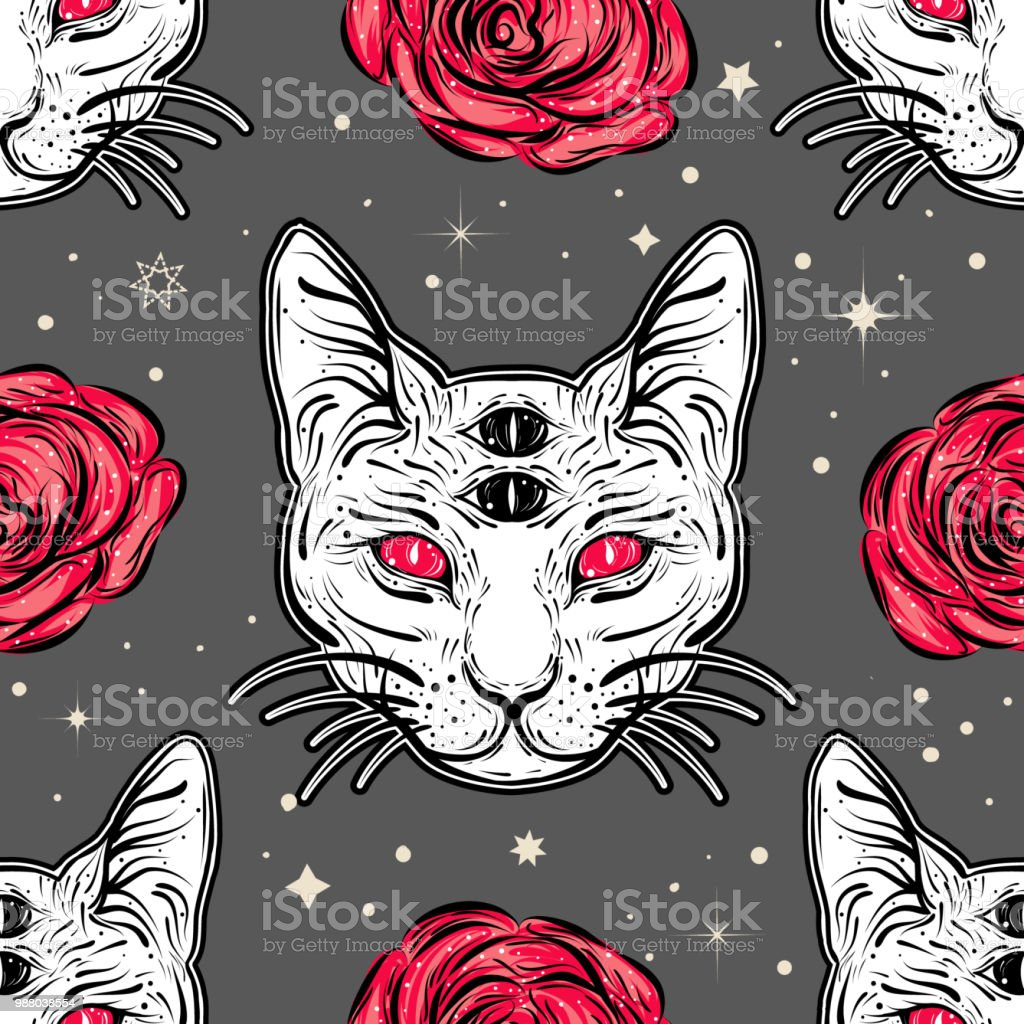 Seamless Pattern With Four Eyed Cat And Roses In Tattoo Art Style