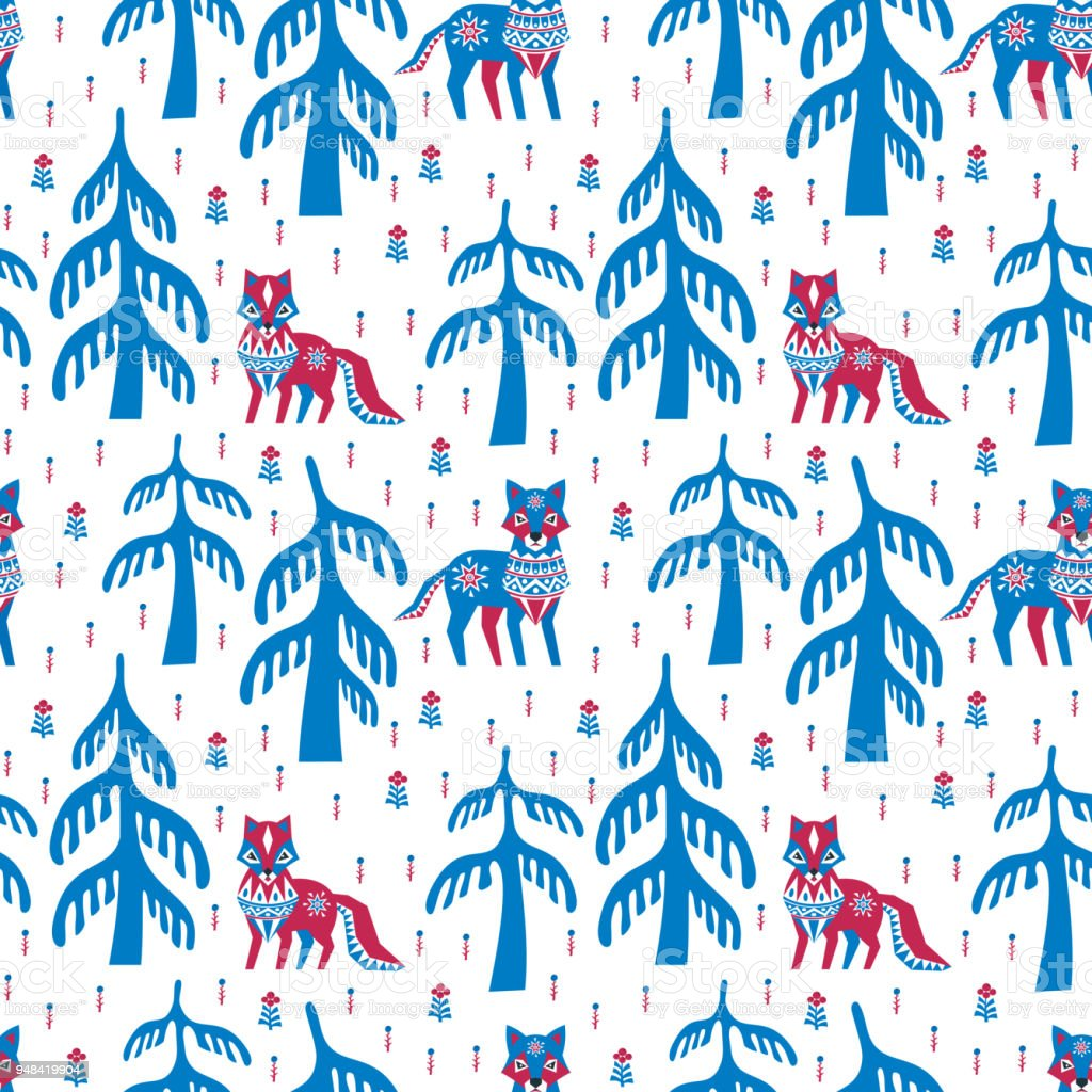 seamless pattern with fox and wolf vector art illustration