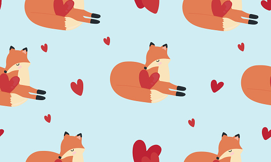 Seamless pattern with foxes and hearts. Background for wrapping paper,  greeting cards and seasonal designs. Happy Valentine's day.