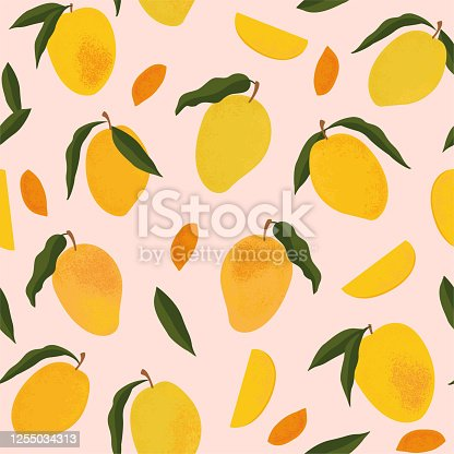 Seamless pattern with fresh bright exotic whole and sliced mango isolated on white background. Summer fruits for healthy lifestyle. Organic fruit. Cartoon style. Vector illustration for any design.
