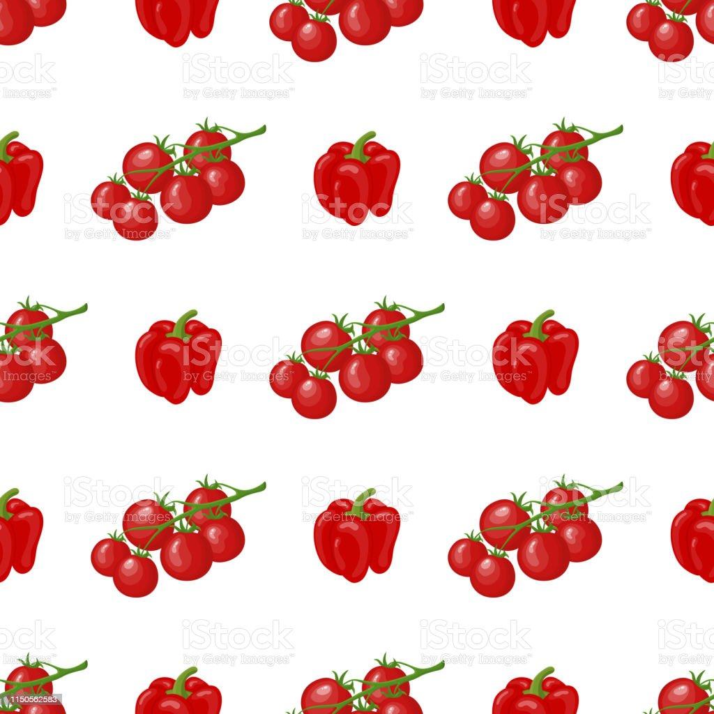 Motif Sans Soudure Avec Tomates Cerises Fraiches Et Legumes De