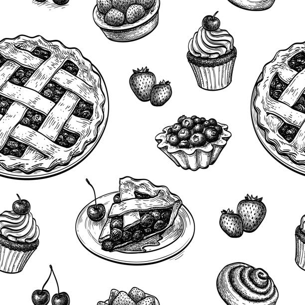 Seamless pattern with fresh fruit pastries. Seamless pattern with fresh fruit pastries. Ink sketches on white background. Hand drawn vector illustration. Retro style. pastry dough stock illustrations