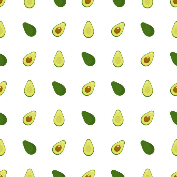 Seamless pattern with fresh half and whole avocado isolated on white background. Organic food. Cartoon style. Vector illustration for design, web, wrapping paper, fabric, wallpaper. Seamless pattern with fresh half and whole avocado isolated on white background. Organic food. Cartoon style. Vector illustration for design, web, wrapping paper, fabric, wallpaper. avocado stock illustrations