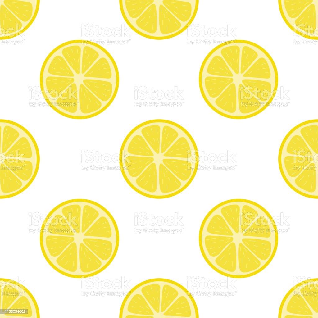 白い背景に新鮮なレモンフルーツとシームレスなパターン抽象的なレモンの背景デザインウェブ包装紙生地壁紙のためのベクターイラスト かんきつ類のベクターアート素材や画像を多数ご用意 Istock