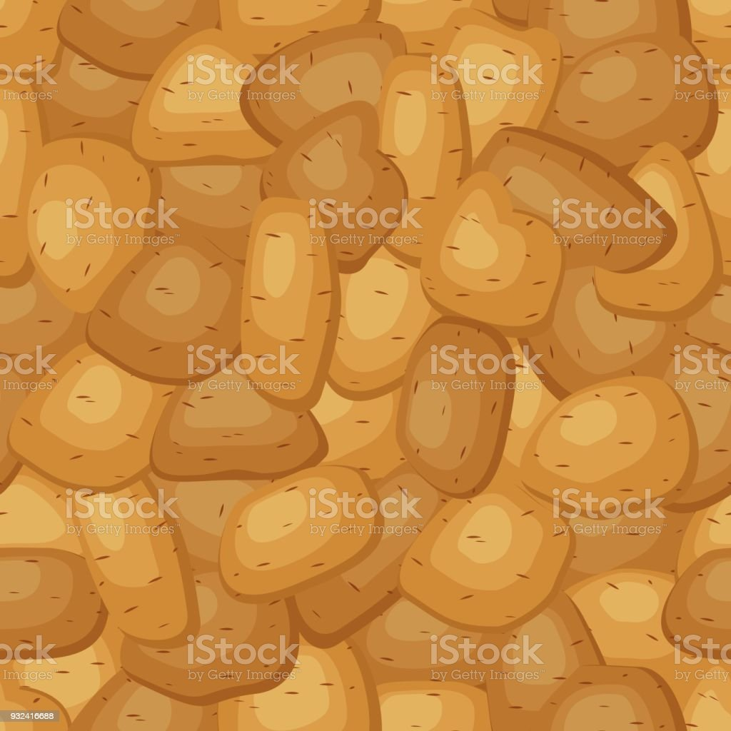 Seamless pattern with fresh ripe potatoes. Background with potatoes different shapes with brown pointed skin. Vector illustration vector art illustration