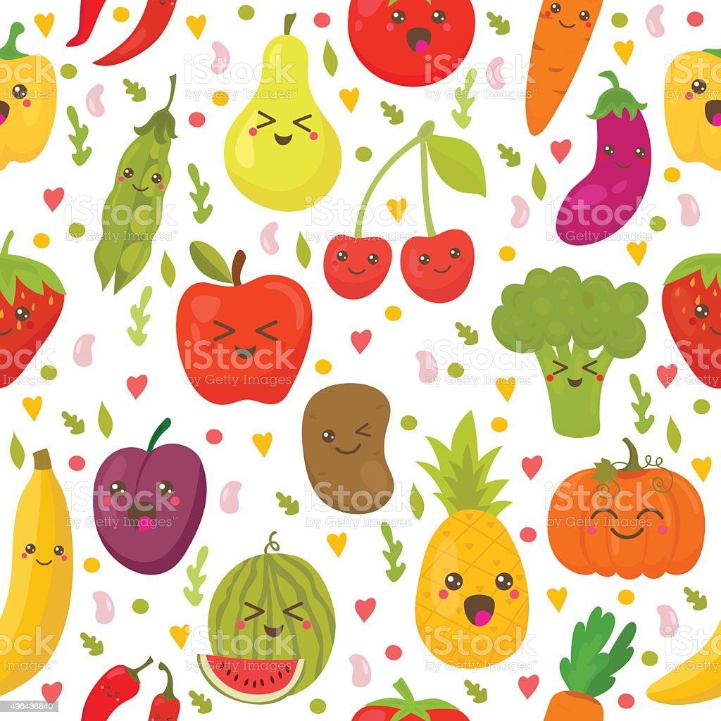 seamless pattern with fresh vegetables and fruits stock vector art