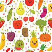 Seamless pattern with fresh vegetables and fruits. Vegetarian background. Healthy lifestyle. Vector illustration