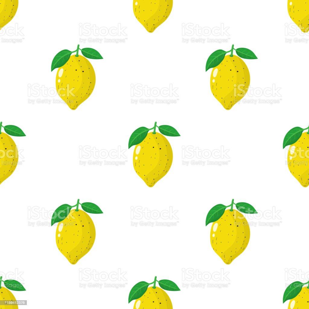 白い背景に新鮮な全体のレモンフルーツとシームレスなパターンデザインウェブ包装紙生地壁紙のためのベクターイラスト かんきつ類のベクターアート素材や画像を多数ご用意 Istock