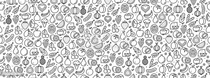 istock Seamless Pattern with Fruit Vegetable Icons 1202978781