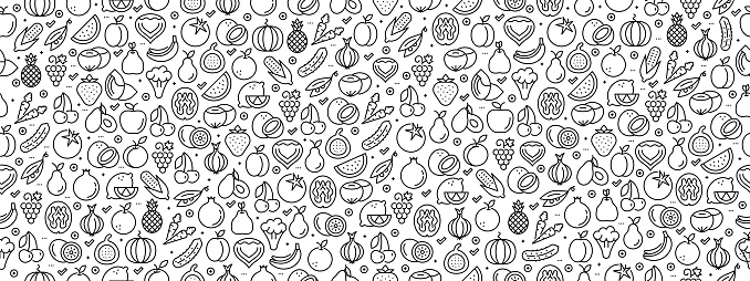 Seamless Pattern with Fruit Vegetable Icons