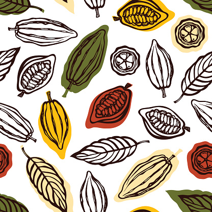 Seamless pattern with fruits and cocoa leaves.
