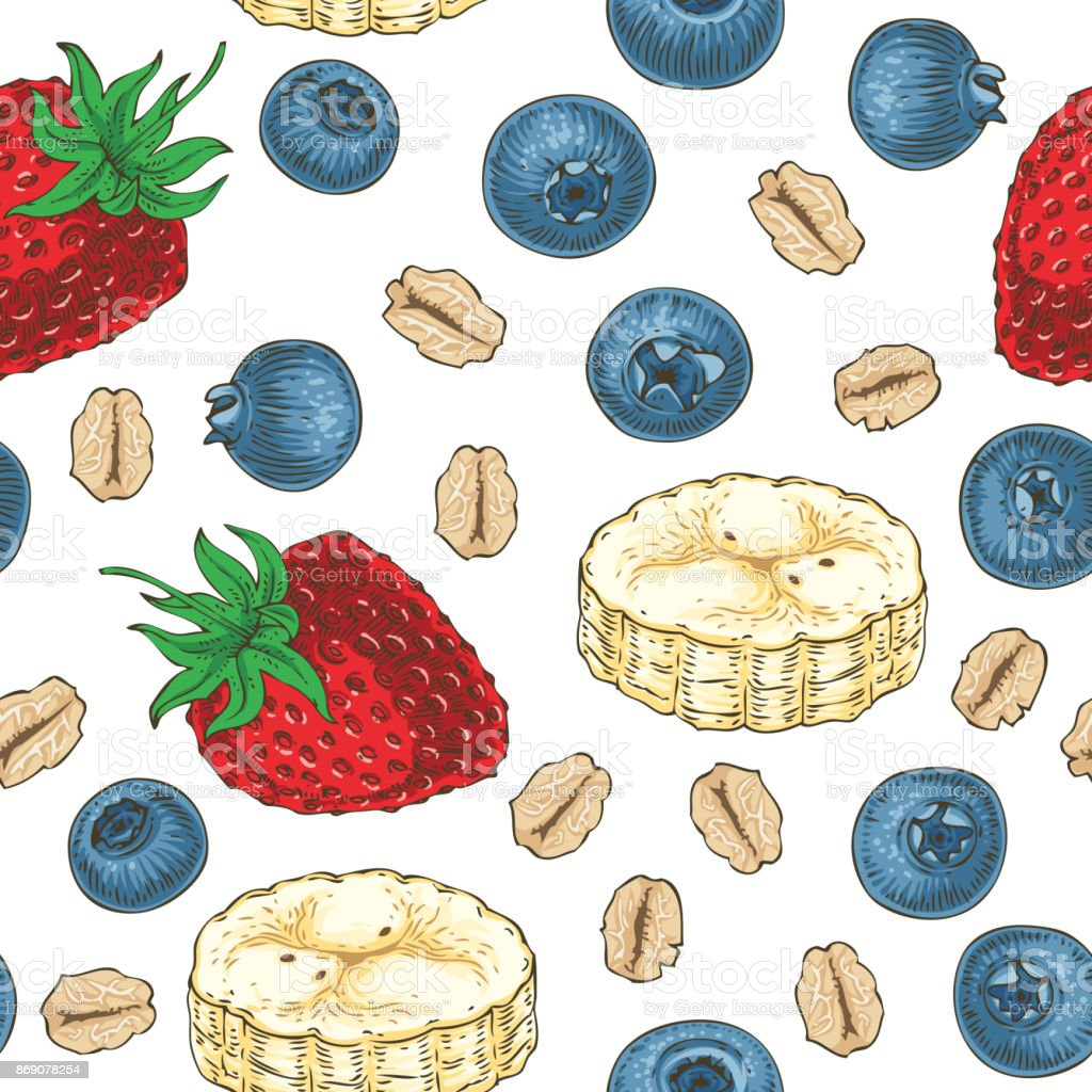 Seamless Pattern with Fruits and Oat Flakes vector art illustration