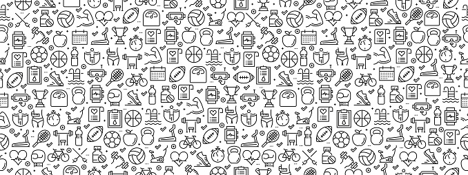 Seamless Pattern with Fıtness Icons