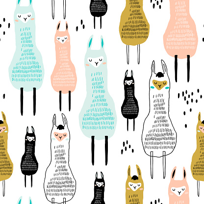 Seamless pattern with funny alpaka. Creative hand drawn llama childish texture. Great for fabric, textile Vector Illustration