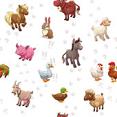Seamless pattern with funny cartoon farm animals and their footprints on white background. Cute childish vector texture