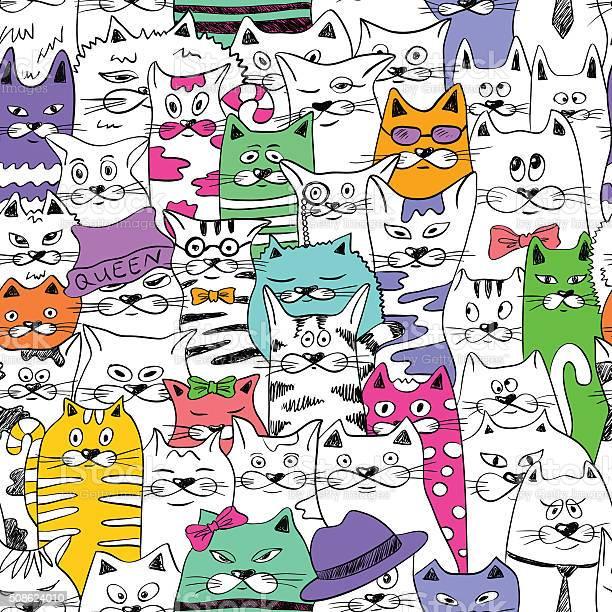 Seamless pattern with funny cats vector id508624010?b=1&k=6&m=508624010&s=612x612&h= u0rv8gz0orxrnb3ocsqhfcs29 emklsxx39zvviqjg=