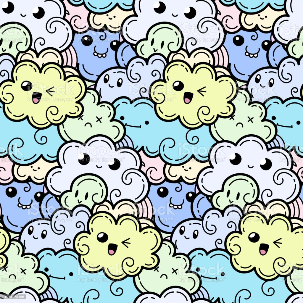 Seamless Pattern With Funny Doodle Clouds For Prints Designs And ...