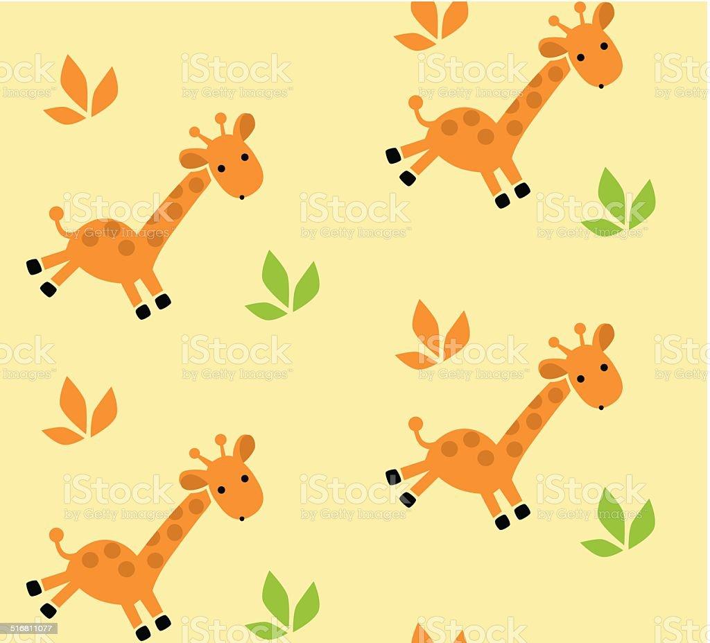 Seamless pattern with funny giraffes. vector art illustration