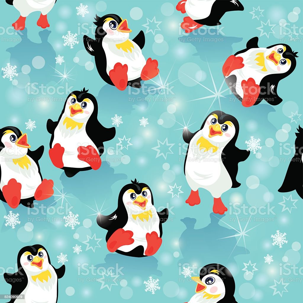 seamless pattern with funny penguins christmas or new year themes royalty free seamless pattern