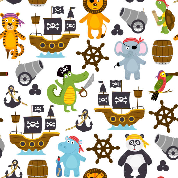 seamless pattern with funny pirates animals - treasure map backgrounds stock illustrations