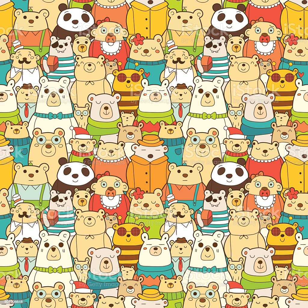 Seamless pattern with funny polar bears vector art illustration