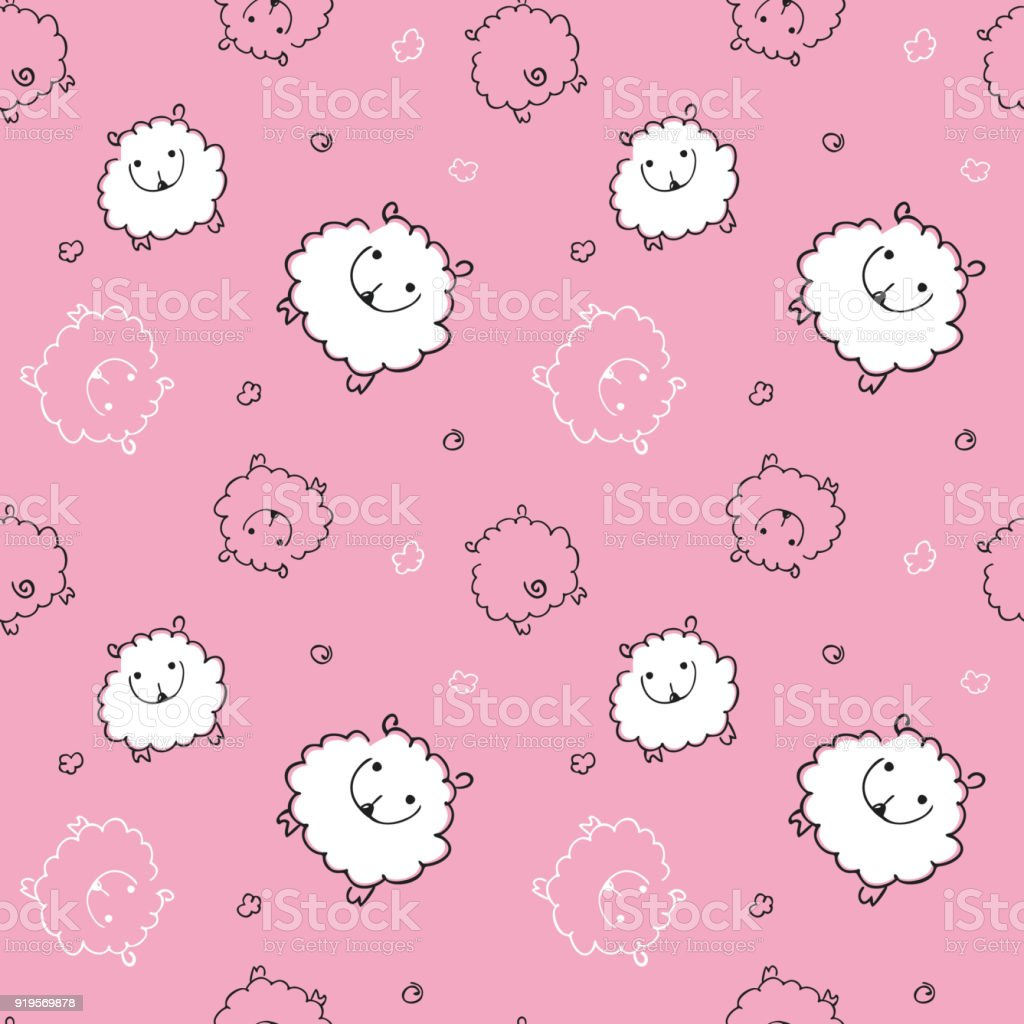 seamless pattern with funny sheep on pink background child