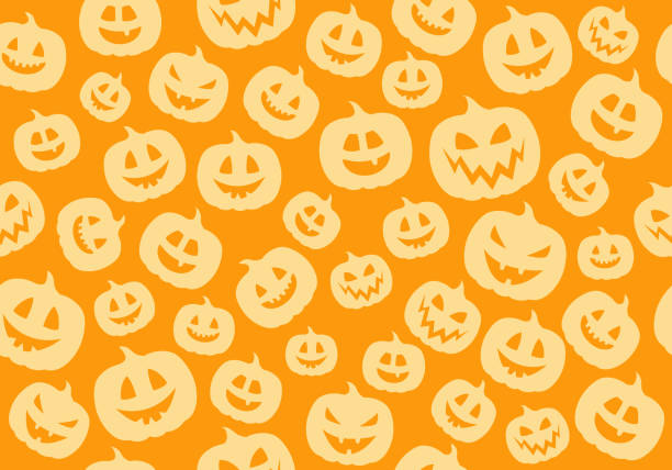 seamless pattern with funny silhouettes of pumpkins. vector. - pumpkin stock illustrations
