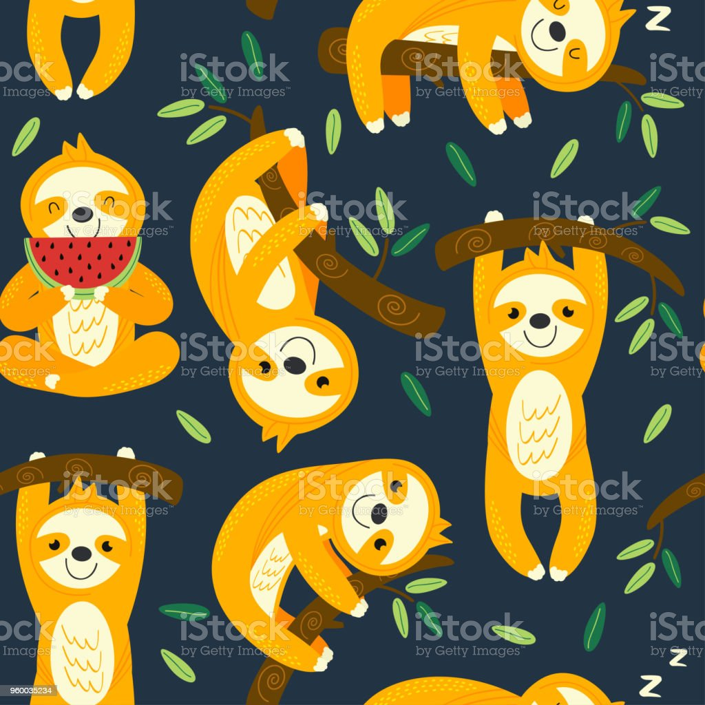 seamless pattern with funny sloths vector art illustration