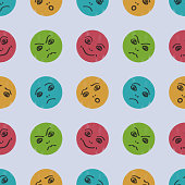 Seamless pattern with funny smileys. The image of different emotions