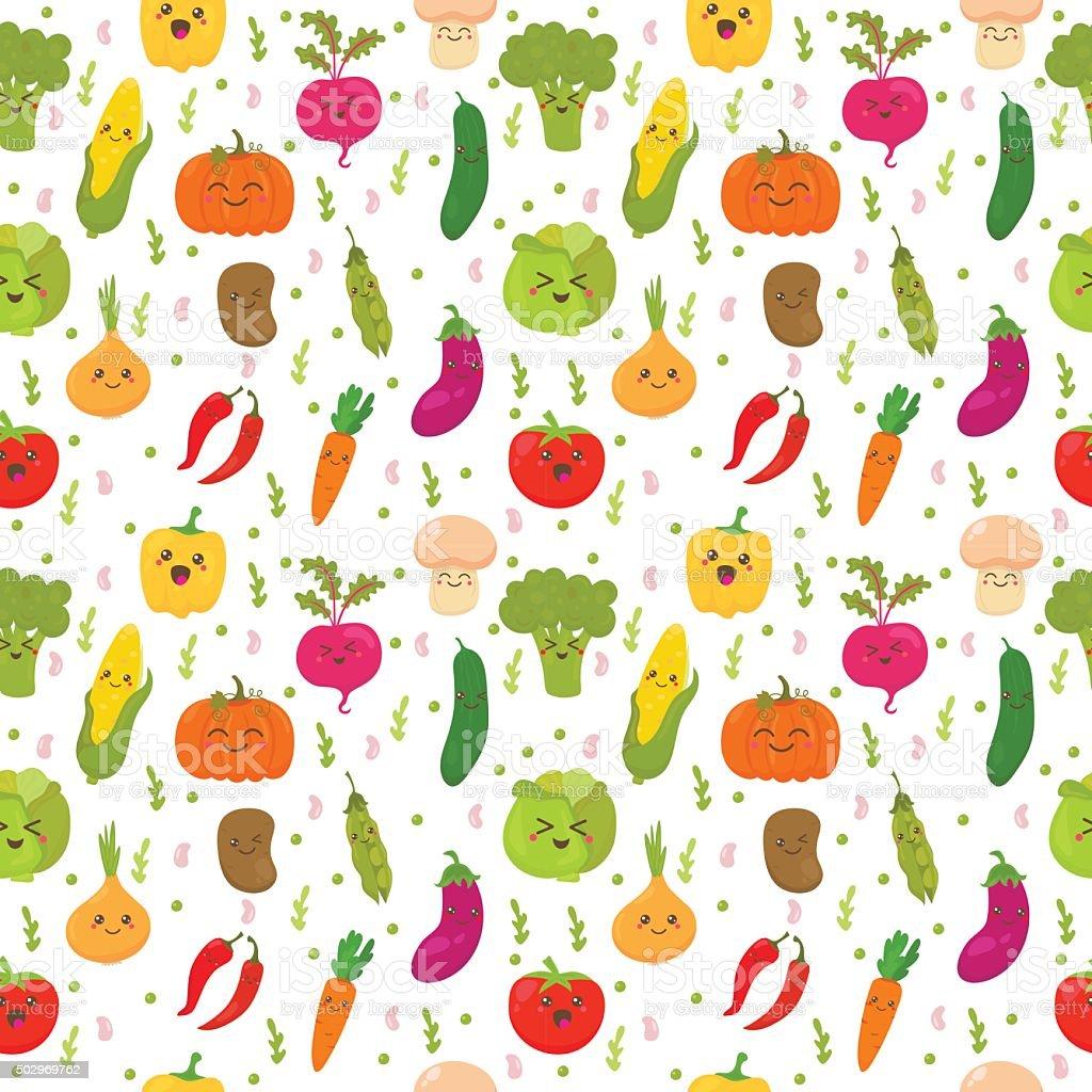 シームレスパターンに面白い野菜を飾りますかわいい背景 のイラスト