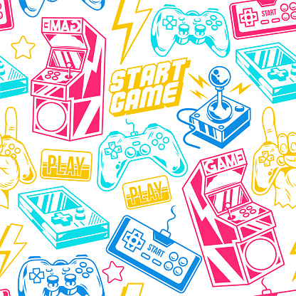 Seamless pattern with gamers elements