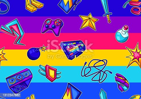 istock Seamless pattern with gaming items. Cyber sports, computer games, fun recreation. 1312347682