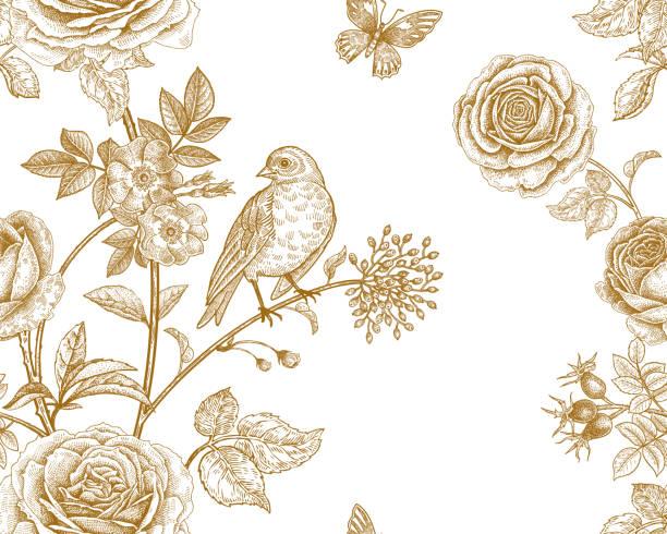 illustrazioni stock, clip art, cartoni animati e icone di tendenza di seamless pattern with garden flowers and birds. - farfalla ramo