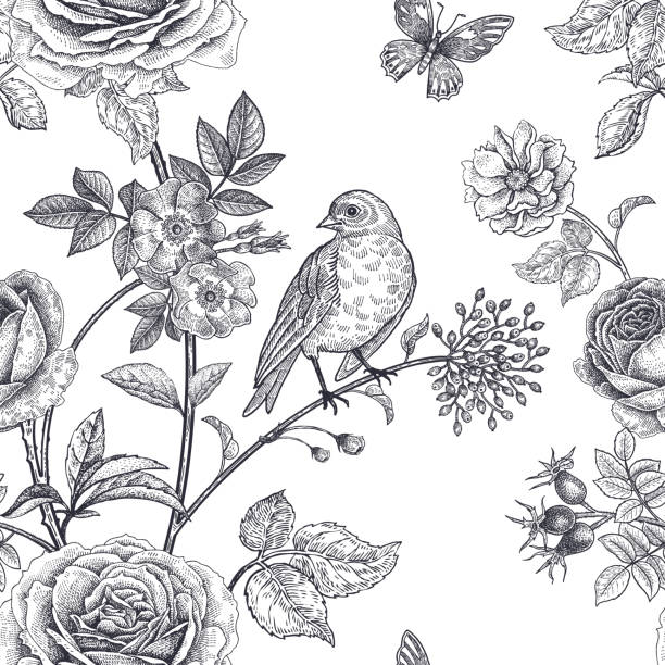 Seamless pattern with garden flowers and birds. Garden flowers roses, peonies and dog rose, bird and butterflies. Floral vintage seamless pattern. Black and white. Victorian style. Vector illustration. Template for luxury textiles, paper, wallpaper bird patterns stock illustrations