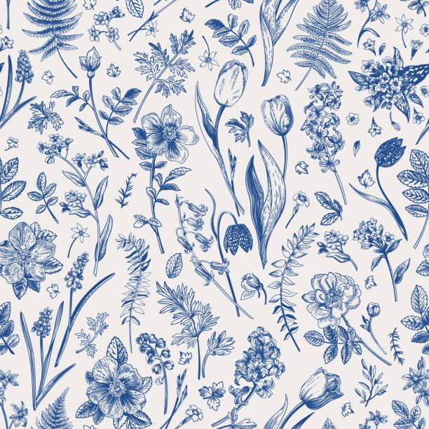 Seamless pattern with garden flowers. vector art illustration