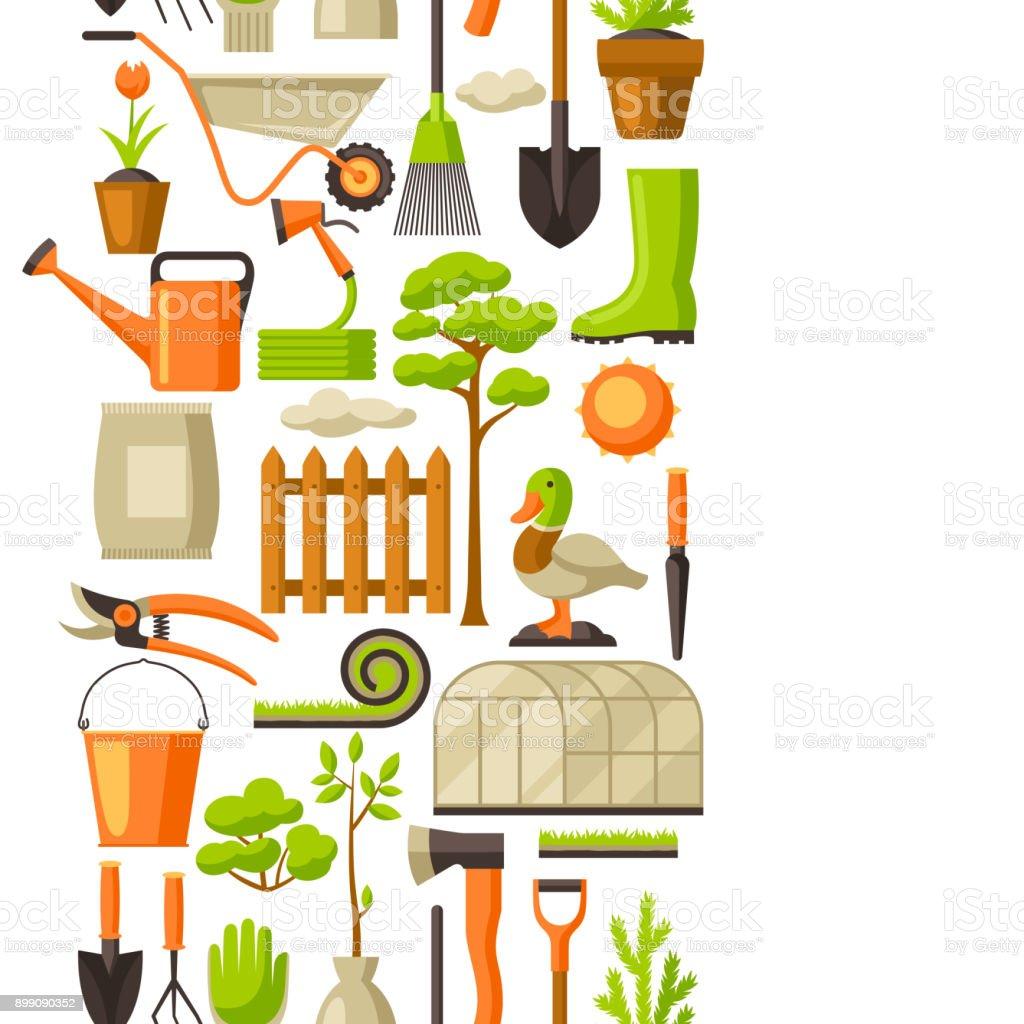 Les Outils De Jardinage Avec Photos modèle sans couture avec outils de jardin et des objets