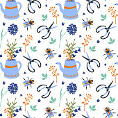 Seamless pattern with garden tools flowers and bee on white background